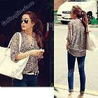 Sleeve Casual Leopard Print Shirt Tops Botton Down Blouses #270