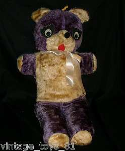 22 VINTAGE SUPERIOR TOY & AND NOVELTY PURPLE TEDDY BEAR STUFFED