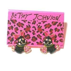 BETSEY JOHNSON Smiling Black Bunny Rabbits , Pink Crystal Hearts