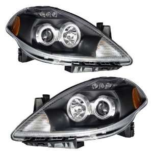 2009 Nissan Versa KS Black CCFL Halo Projector Headlights Automotive