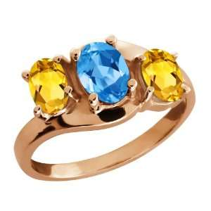 Oval Swiss Blue Topaz and Yellow Citrine 14k Rose Gold Ring Jewelry