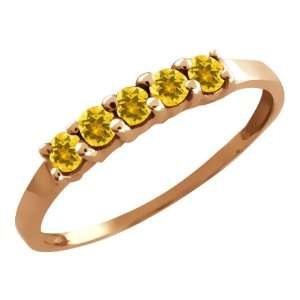 0.35 Ct Round Yellow Citrine 18k Rose Gold Ring Jewelry