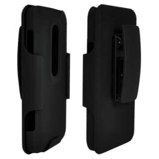 New Black Shell Holster Belt Clip Case+Stand HTC Evo 3D Hard Rubber
