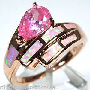 plated 925 Sterling Silver Pink Fire Opal Inlay and Pink Topaz ring