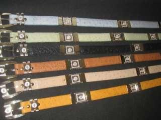 Mens Genuine Leather Ostrich Western Cowboy Belt