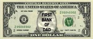 FIRST BANK OF DAD Novelty U.S Dollar Bill Bookmark Fun Gift