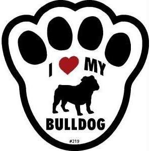 I Love My Bulldog Dog Pawprint Window Decal Kitchen
