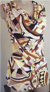 Plus Size Clothing Brown Drape Neck Tank Top Shirt Blouse