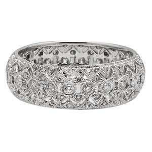 PAVE DIAMOND FILIGREE ANTIQUE STYLE ETERNITY WEDDING BAND RING