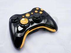 CUSTOM MODDED XBOX 360 BLACK AND CHROME GOLD WIRELESS CONTROLLER SHELL
