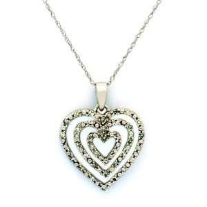 10k Solid White Gold Precious Diamond Heart Pendant + Chain Jewelry
