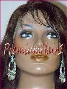 Front Lace Human Indian Hair Remi Remy Wig #3 Med Brown Silky Straight