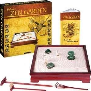 Deluxe Zen Garden in Rosewood Wooden Tray with Booklet of