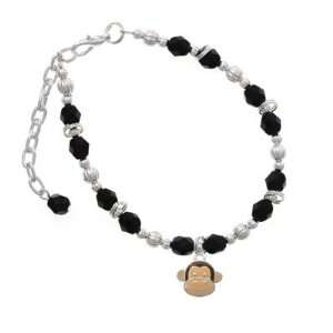 Monkey Face Black Czech Glass Beaded Charm Bracelet [Jewelry]
