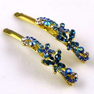ADDL Item  2 Rhinestone crystal butterfly hair side clip