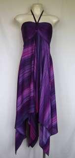Plus Size Stripped Tie Front Halter Neck Handkerchief Hem Dress NWT