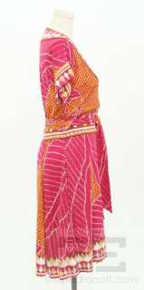 DVF Diane von Furstenberg Fuchsia, Gold, & Brown Silk Wrap Dress Size