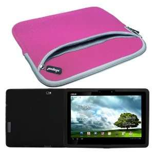 Silicone Skin Case + Pink 10.2 Inch Laptop Dual Pocket Carrying Case