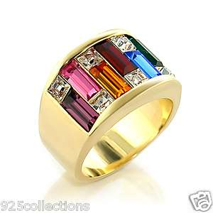 MULTI COLOR CRYSTAL RAINBOW MENS RING JEWELRY SIZE 9