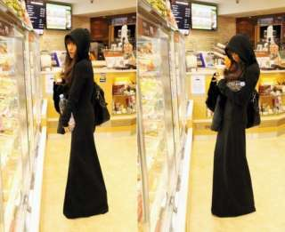 Korean Black Sweater Hoodie Long Sleeve Knit Maxi Dress