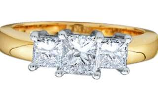 Ladies REAL 14k Yellow Gold Diamond Three Stone Princess Cut Ring