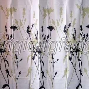 flower black picture Bathroom Waterproof Fabric Shower Curtain cs027