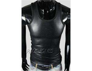 Strong Mens Tight Leather Like Underwear Tank Top Shirts T shirts