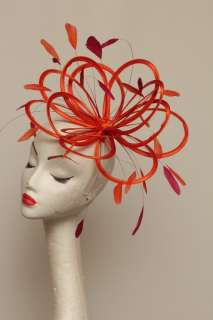 New Orange Hot Pink fascinator hat wedding ascot