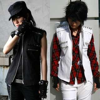 Spike Sleeveless Jacket Punk Goth Rock Denim Jacket
