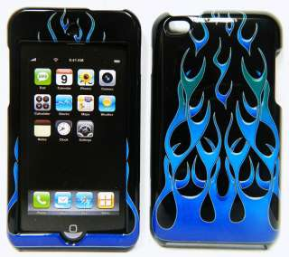 Apple iPod Touch 4th Gen HARD SnapOn Case Cover BLUE FIRE FLAME