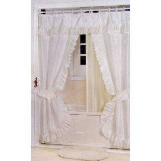 Purple Fabric Double Swag Shower Curtain With Matching Window Curtain And Vin