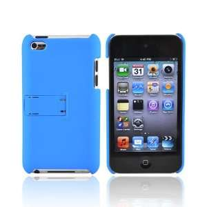 BLUE For iPod Touch 4 Rubberized Hard Case Cover Stand Electronics