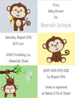 24 Sweet Little Monkey Baby Shower Invitations