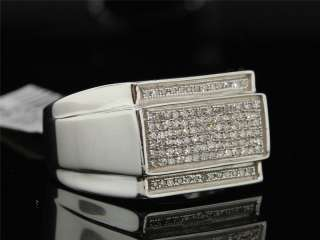 MENS WHITE GOLD FINISH .33 CT PAVE DIAMOND PINKY RING