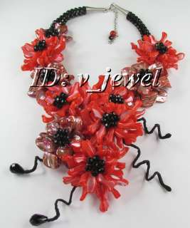 Shell onyx coral flower necklace/earring set VJ