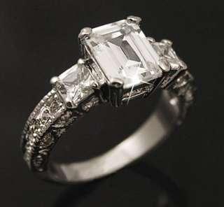 White Gold gp lab Diamond 2.0ct Emerald Cut Engagement Wedding Ring SZ