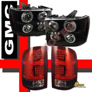 07 08 09 10 11 GMC SIERRA CCFL HALO PROJECTOR HEADLIGHTS & LED TAIL