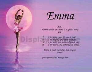 Ballet Dancer Personalized Name Poem Dance Recital Gift Idea