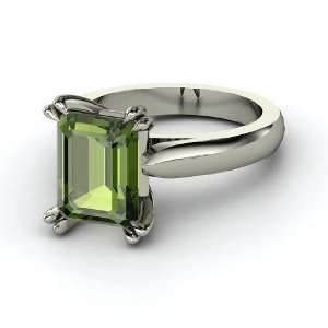 Quotation Ring, Emerald Cut Green Tourmaline Sterling