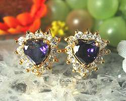 Fashion Jewelry Heart Cut Purple Amethyst Yellow Gold GP Stud Earrings