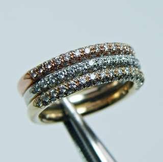 Estate 14K Pink White Yel Gold Diamond 3 Ring Set 7.9gr