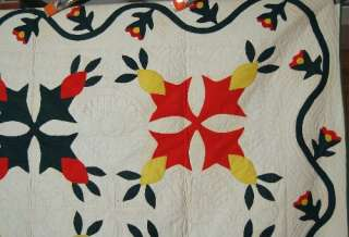 Pineapple Red, Green & Yellow Applique Hand Stitched Antique Quilt