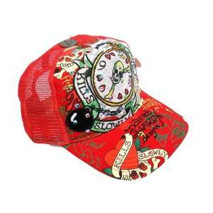 BASEBALL CAP (HAT) with RHINESTONES   LOVE KILLS SLOWLY CLOCK   RED