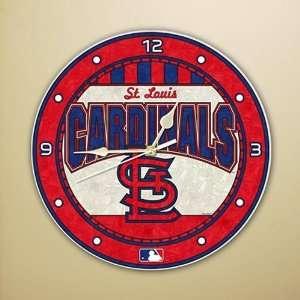 St. Louis Cardinals 12 Art Glass Wall Clock Sports
