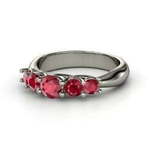 Oh La Lovely Ring, Round Ruby 14K White Gold Ring