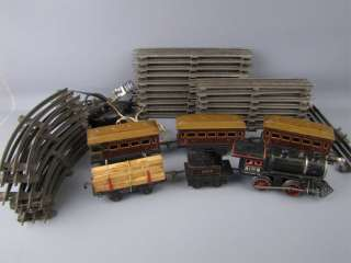 Vintage Bing Cast Iron 1012 Locomotive w/ Cars + Track