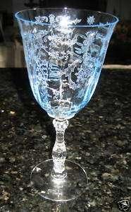 FOSTORIA Navarre AZURE BLUE Water Goblets