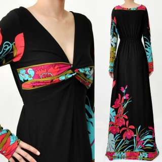 RED FLORAL BLACK LONG SLEEVES EVENING MAXI DRESS 4 6 8S