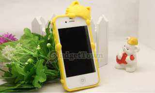 Pink Cat Kitty KiKi Soft Silicone Rubber Back Case Cover for iPhone 4