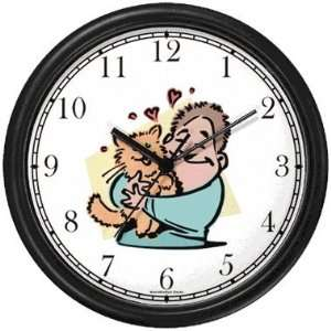 Man Hugging Cat Cat Wall Clock by WatchBuddy Timepieces (Slate Blue